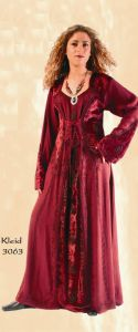 Gothic Dress~Velvet Full Length Dress with stunning Laced & Embroidered Detail~3063